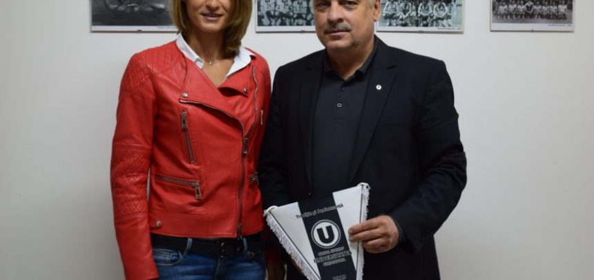 Camelia Potec, în vizită la Clubul Sportiv Universitatea